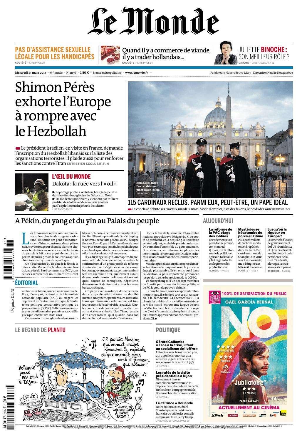 Le Monde Mercredi 13 Mars 2013