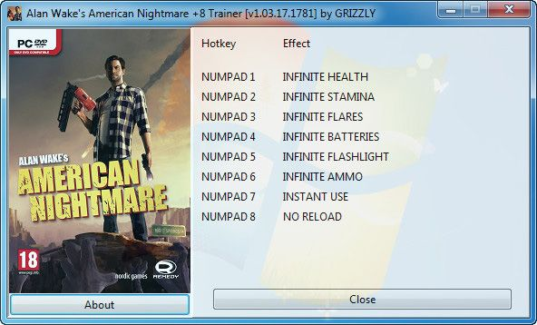 Alan Wake's American Nightmare v1.03.17.1781 +8 Trainer [GRiZZLY]