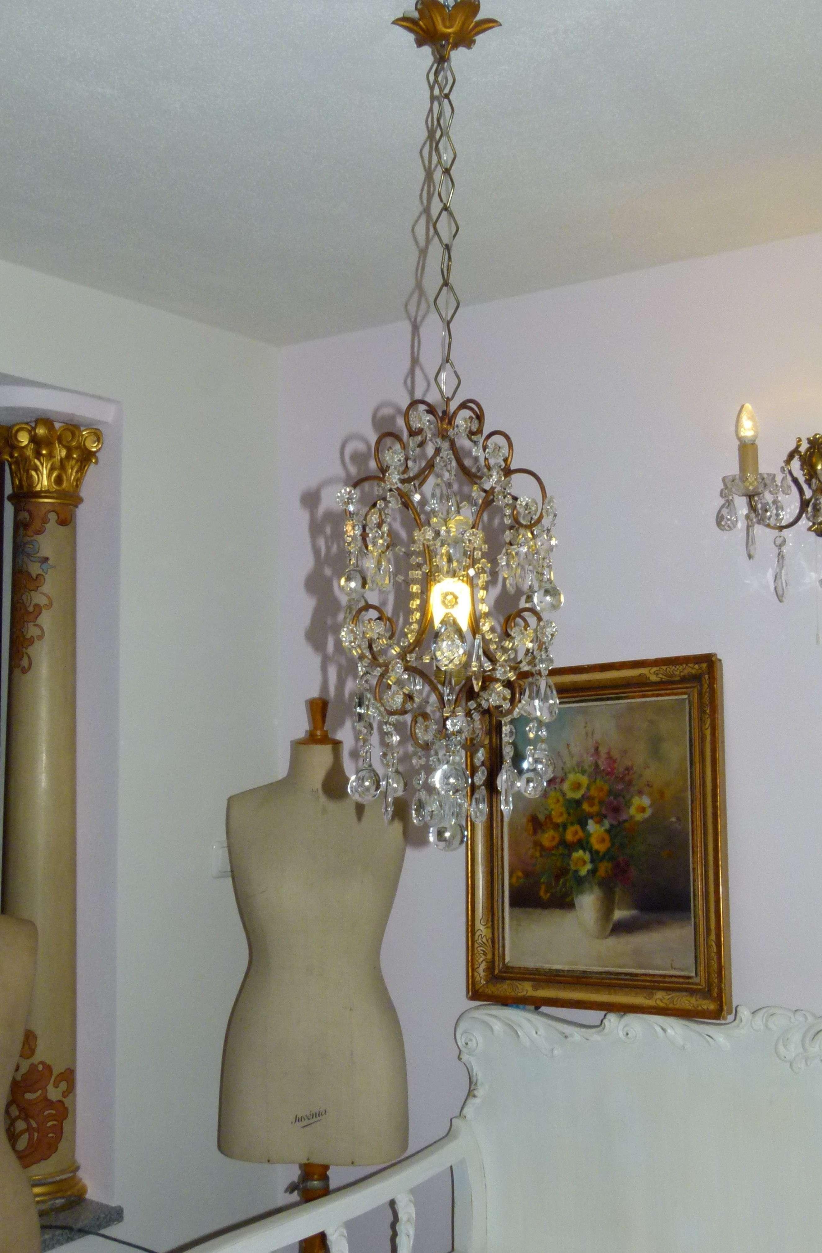 bezaubernder zierlicher alter franz sischer chandelier kronleuchter shabby chic ebay. Black Bedroom Furniture Sets. Home Design Ideas