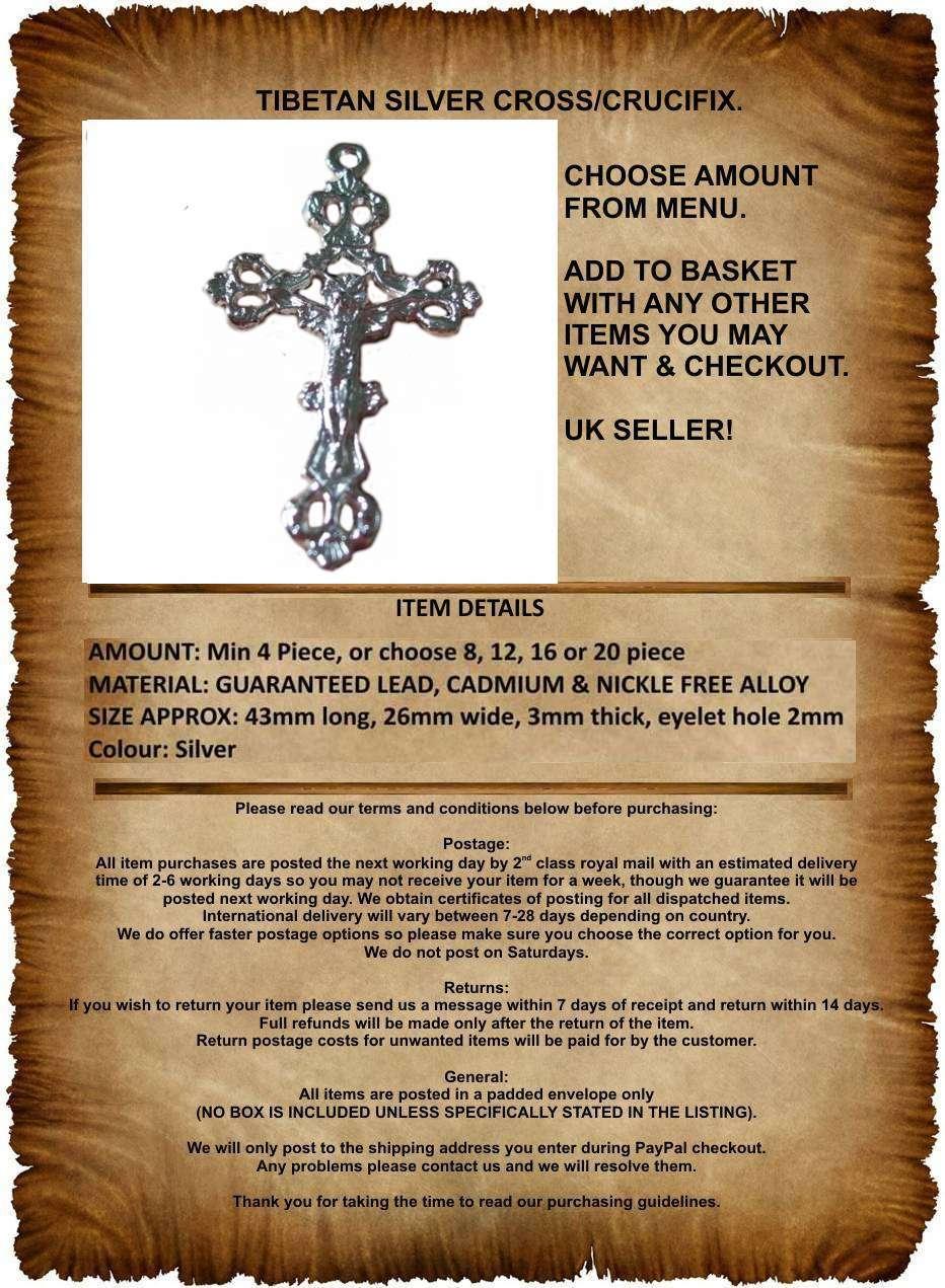 tamaño 43mmx26mm Ts17 Nuevas cuentas 4 X Tibetano Plata Crucifijo Cruz Colgante